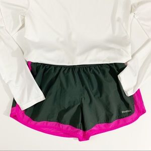 Reebok Charcoal and Fuchsia Running Shorts Small